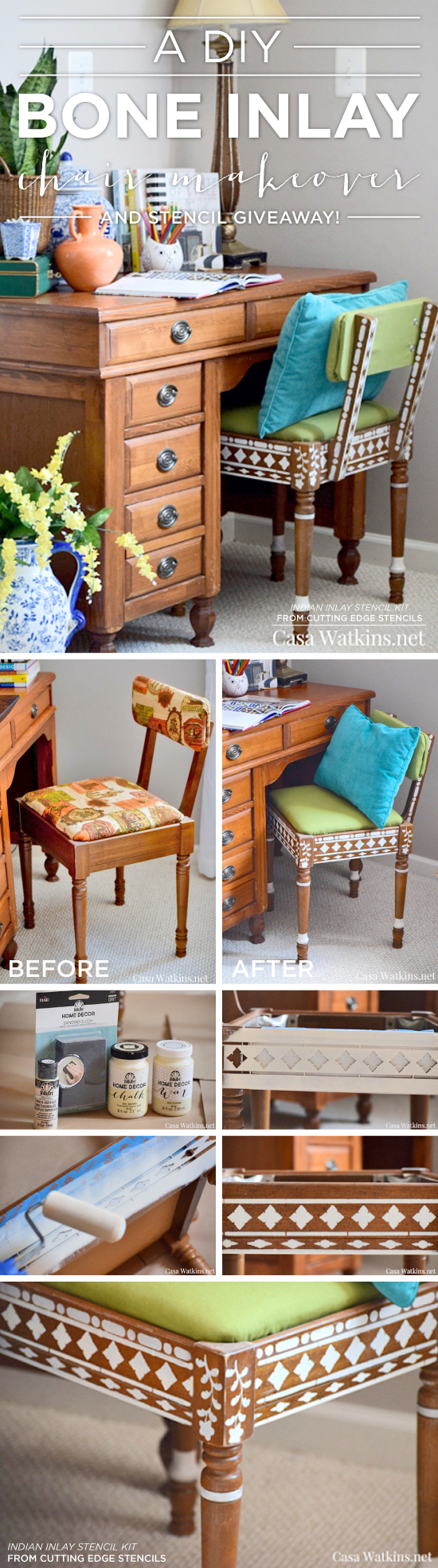 Cutting Edge Stencils shares how to easily paint furniture using the Indian Inlay Stencil kit for a bone inlay look. http://www.cuttingedgestencils.com/indian-inlay-stencil-furniture.html