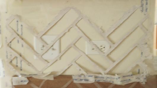 Stenciling a Herringbone Brick Allover pattern on a kitchen backsplash. http://www.cuttingedgestencils.com/herringbone-brick-pattern-stencil-wall-decor.html