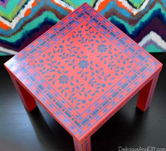 A DIY stenciled table using the Indian Inlay Stencil kit. http://www.cuttingedgestencils.com/indian-inlay-stencil-furniture.html
