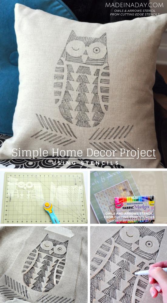 Cutting Edge Stencils shares how to create DIY home decor like a stenciled pillow cover using stencils. http://www.cuttingedgestencils.com/owls-arrows-allover-stencil-pattern.html