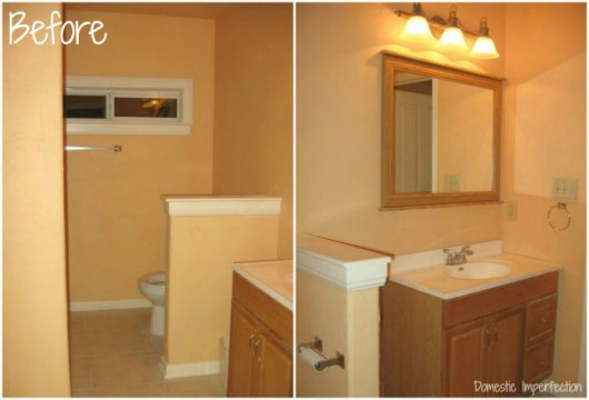 A master bathroom before its stenciled makeover. http://www.cuttingedgestencils.com/stencil-wall-stencils-fuji.html