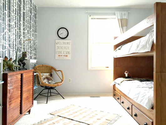 A DIY stenciled boys bedroom accent wall using the Birch Forest Allover Stencil in navy. http://www.cuttingedgestencils.com/allover-stencil-birch-forest.html