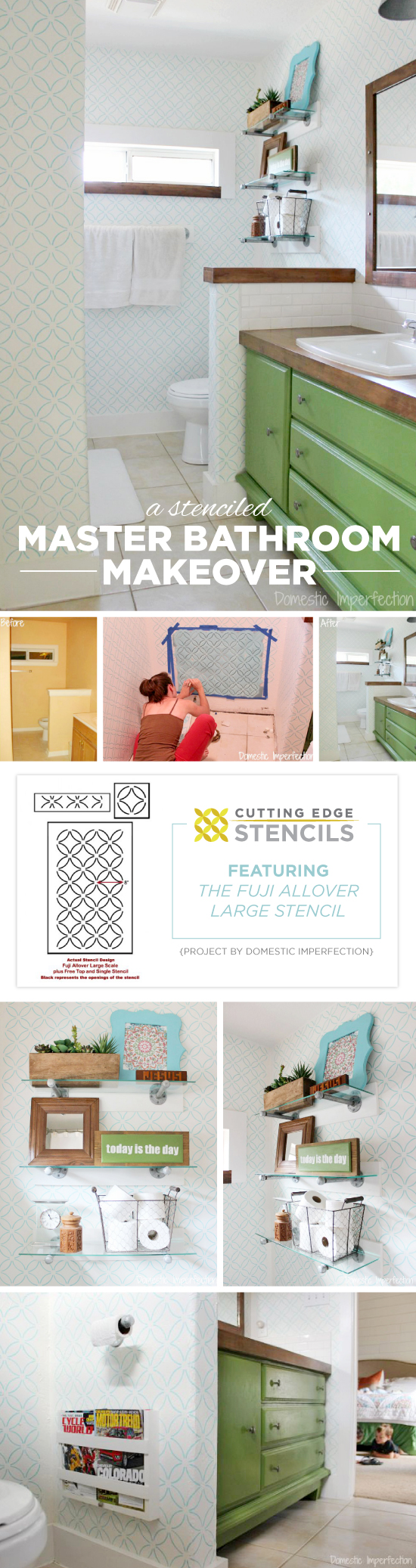 Cutting Edge Stencils shares a DIY stenciled master bathroom using the Fuji Allover Stencil. http://www.cuttingedgestencils.com/stencil-wall-stencils-fuji.html