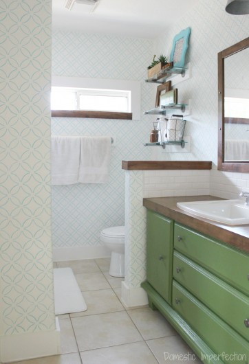 A DIY stenciled master bathroom using the Fuji Allover Stencil. http://www.cuttingedgestencils.com/stencil-wall-stencils-fuji.html
