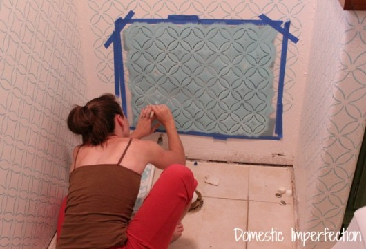Stenciling a master bathroom using the Fuji Allover Stencil. http://www.cuttingedgestencils.com/stencil-wall-stencils-fuji.html