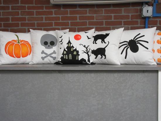 DIY stenciled Halloween accent pillows using the Halloween Paint-A-Pillow kits. http://www.cuttingedgestencils.com/accent-pillow-stencil-kits.html