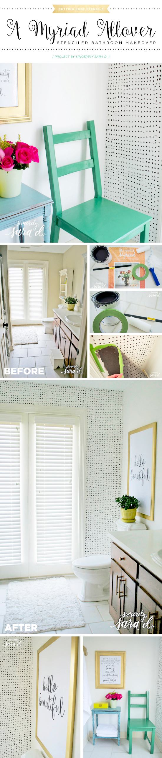 Cutting Edge Stencils shares a DIY stenciled bathroom accent wall using the Myriad Allover stencil pattern in black and white. http://www.cuttingedgestencils.com/myriad-modern-wall-pattern-stencil.html