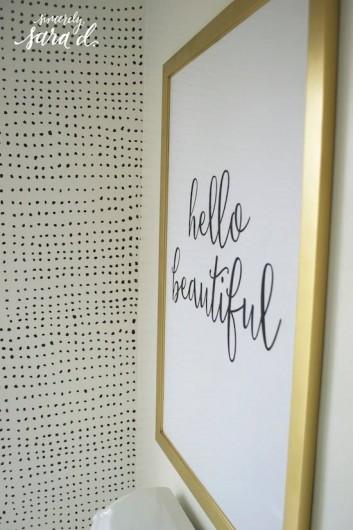 A DIY stenciled bathroom accent wall using the Myriad Allover Stencil. http://www.cuttingedgestencils.com/myriad-modern-wall-pattern-stencil.html