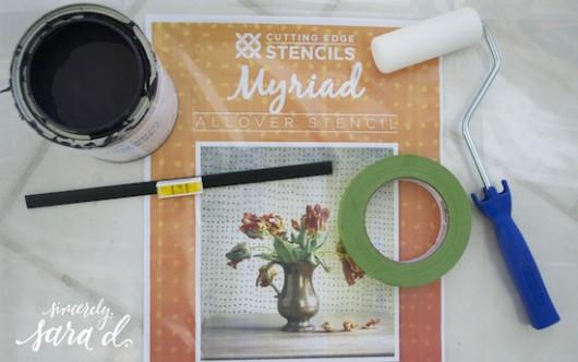 The Myriad Allover Stencil from Cutting Edge Stencils and stenciling supplies. http://www.cuttingedgestencils.com/myriad-modern-wall-pattern-stencil.html