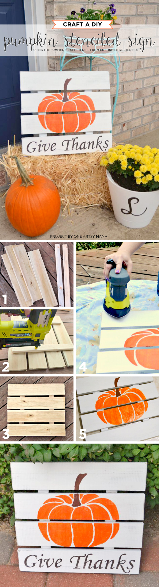 Cutting Edge Stencils shares how to create a DIY Fall inspired sign using the Pumpkin Craft Stencil. http://www.cuttingedgestencils.com/pumpkin-stencil-halloween-designs-for-accent-pillows-and-totes.html