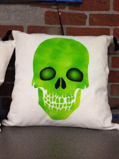 A DIY Halloween accent pillow using the Skull Paint-A-Pillow kit.  http://www.cuttingedgestencils.com/skull-throw-pillows-halloween-diy-home-decor.html