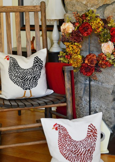 DIY fall inspired accent pillows using the Dominque Chicken Paint-A-Pillow stencil kit. http://www.cuttingedgestencils.com/dominique-chicken-stenciled-paint-a-pillow-kit.html