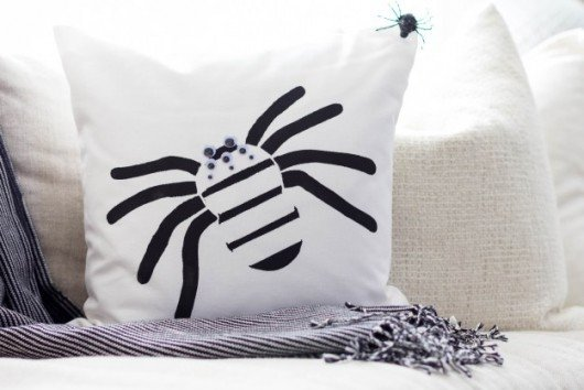 A DIY stenciled Halloween accent pillow using the Spider Stencil Accent Pillow Kit. http://www.cuttingedgestencils.com/spider-stencil-halloween-decoration-accent-pillows.html