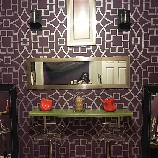 A DIY stenciled accent wall in metallic using the Tea House Trellis Allover Stencil. http://www.cuttingedgestencils.com/tea-house-trellis-allover-stencil-pattern.html