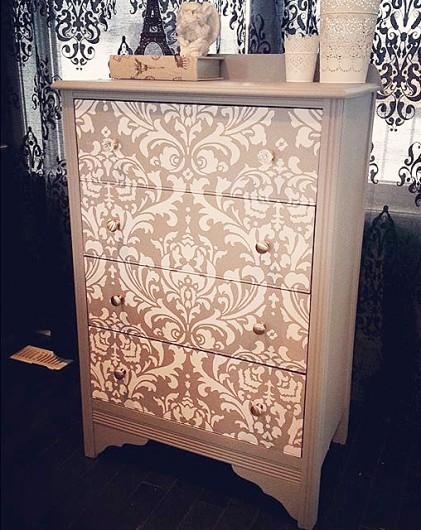 A DIY stenciled and painted dresser using the Anna Damask Stencil. http://www.cuttingedgestencils.com/damask-stencil.html