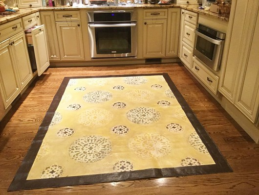 A DIY stenciled floorcloth for a kitchen floor using the Antico Allover Stencil. http://www.cuttingedgestencils.com/antico-allover-wall-pattern.html