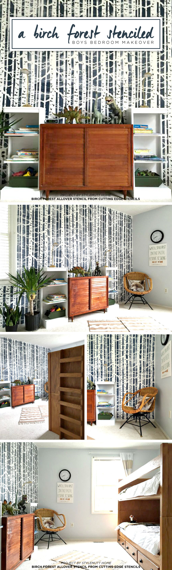 Cutting Edge Stencils shares a DIY stenciled boys bedroom accent wall using the Birch Forest Allover Stencil in navy and white. http://www.cuttingedgestencils.com/allover-stencil-birch-forest.html