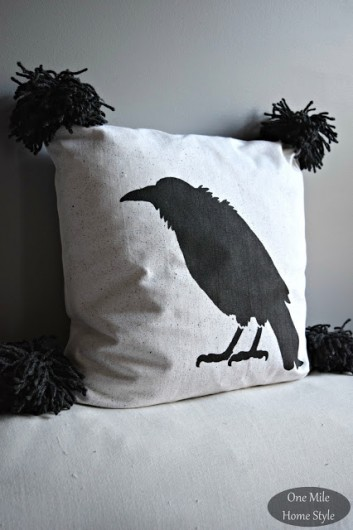 DIY Crow stenciled accent pillow using the Crow Stencil pillow kit. http://www.cuttingedgestencils.com/crow-stencil-design-halloween-home-decor-diy-pillow-kit.html