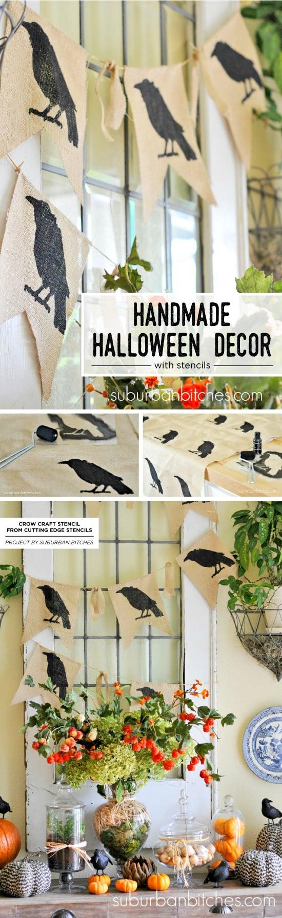 Cutting Edge Stencils shares how to create DIY handmade Halloween decorations using craft stencils. http://www.cuttingedgestencils.com/halloween-stencils-crow-stencil-design-diy-craft.html