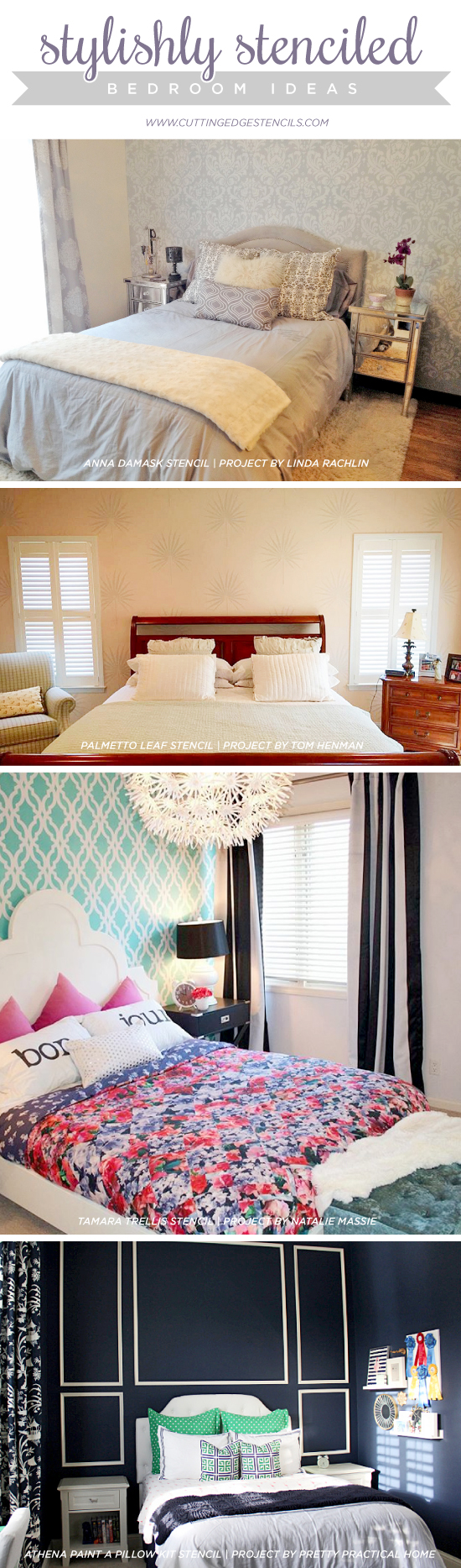 Cutting Edge Stencils shares DIY stenciled bedroom ideas. http://www.cuttingedgestencils.com/wall-stencils-stencil-designs.html