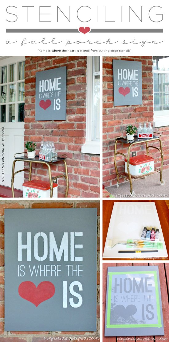 Cutting Edge Stencils shares how to stencil a DIY porch sign using the Home Is Where The Heart Is Quote Stencil. http://www.cuttingedgestencils.com/home-is-wall-quote-stencil.html