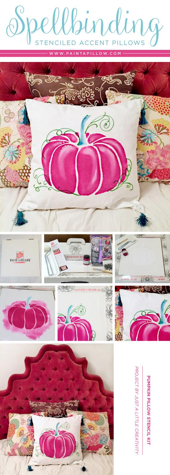 Cutting Edge Stencils shares a Halloween DIY stenciled Pumpkin accent pillow. http://www.cuttingedgestencils.com/pumpkin-stencils-halloween-throw-pillows-diy-home-decor.html