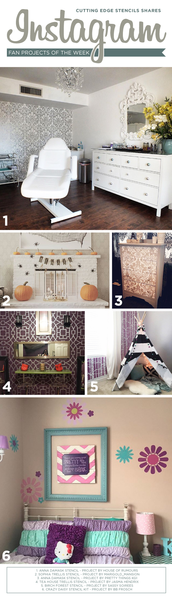 Cutting Edge Stencils shares DIY stenciled room and accent wall ideas featuring stencil patterns. http://www.cuttingedgestencils.com/wall-stencils-stencil-designs.html