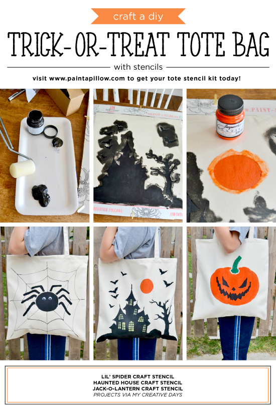 Cutting Edge Stencils shares how to craft a DIY trick-or-treat tote bag using our Halloween Stencils. http://www.cuttingedgestencils.com/haunted-house-tote-stencil-halloween-accent-pillow-stencils.html