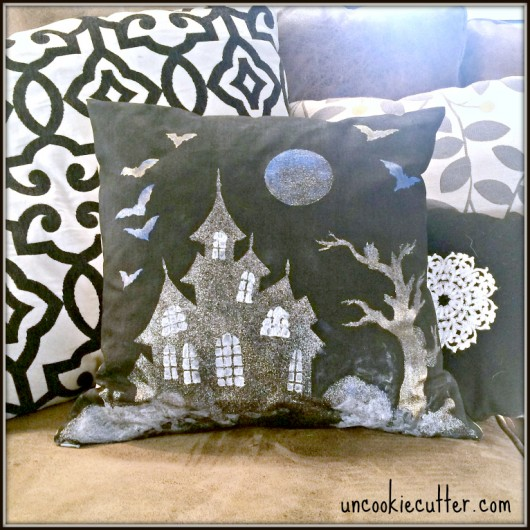 A DIY stenciled halloween accent pillow using the Haunted House Stencil pillow kit. http://www.cuttingedgestencils.com/haunted-house-halloween-accent-pillow-stencil-kit.html