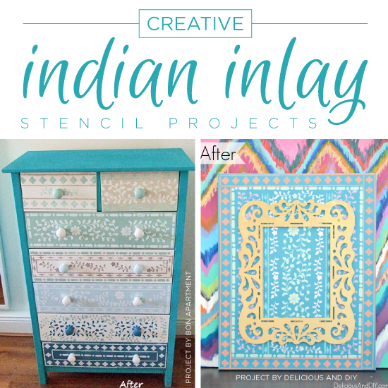 Cutting Edge Stencils shares DIY home decor projects using the Indian Inlay Stencil Kit. http://www.cuttingedgestencils.com/indian-inlay-stencil-furniture.html