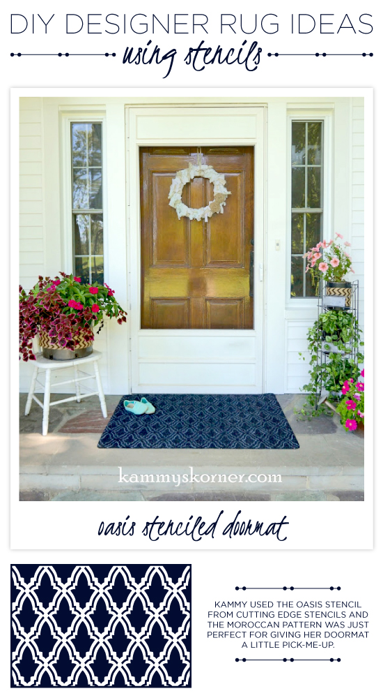 A DIY stenciled outdoor rug using the Oasis Stencil and white paint pen. http://www.cuttingedgestencils.com/moroccan-stencil-oasis.html