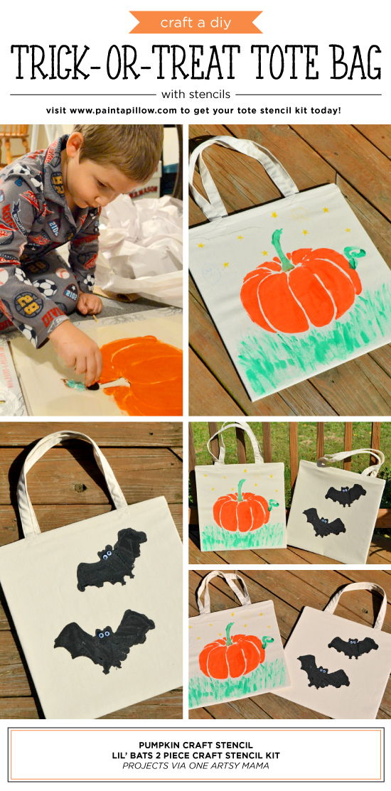 Cutting Edge Stencils shares how to craft a DIY trick-or-treat tote bag using our Halloween Stencils. http://www.cuttingedgestencils.com/pumpkin-stencil-halloween-designs-for-accent-pillows-and-totes.html