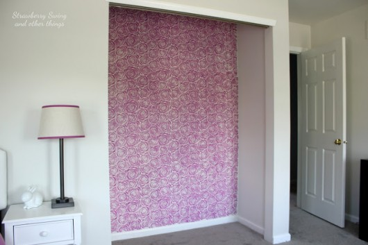 Stenciling a DIY closet using the Roses Allover Stencil in radiant orchid purple. http://www.cuttingedgestencils.com/roses-stencil-pattern-rose-design.html