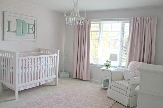 A Diy Stenciled Accent Wall In Nursery Using The Roses Allover Stencil Light Pink