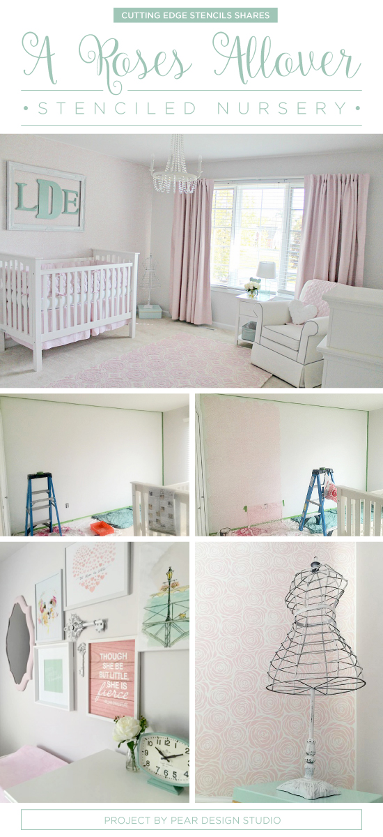 Cutting Edge Stencils Shares A Vintage Chic Nursery Featuring A DIY  Stenciled Accent Wall Using The