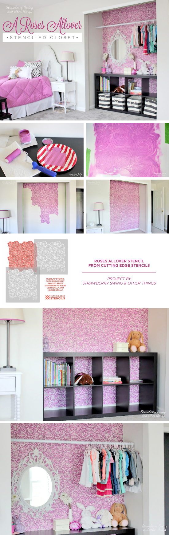 Cutting Edge Stencils shares a DIY stenciled closet idea in a girl's bedroom using the Roses Allover Stencil in Pantone's radiant orchid. http://www.cuttingedgestencils.com/roses-stencil-pattern-rose-design.html
