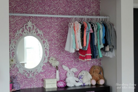 A DIY Stenciled Closet Using The Roses Allover Stencil In Radiant Orchid.  Http:/
