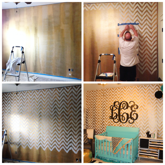 Stenciling a DIY accent wall in a nursery using gold paint and the Ikat Zig Zag Stencil. http://www.cuttingedgestencils.com/zigzag-stencil-pattern.html