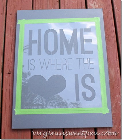 Stenciling the Home Is Where The Heart Is Quote Stencil on canvas. http://www.cuttingedgestencils.com/home-is-wall-quote-stencil.html