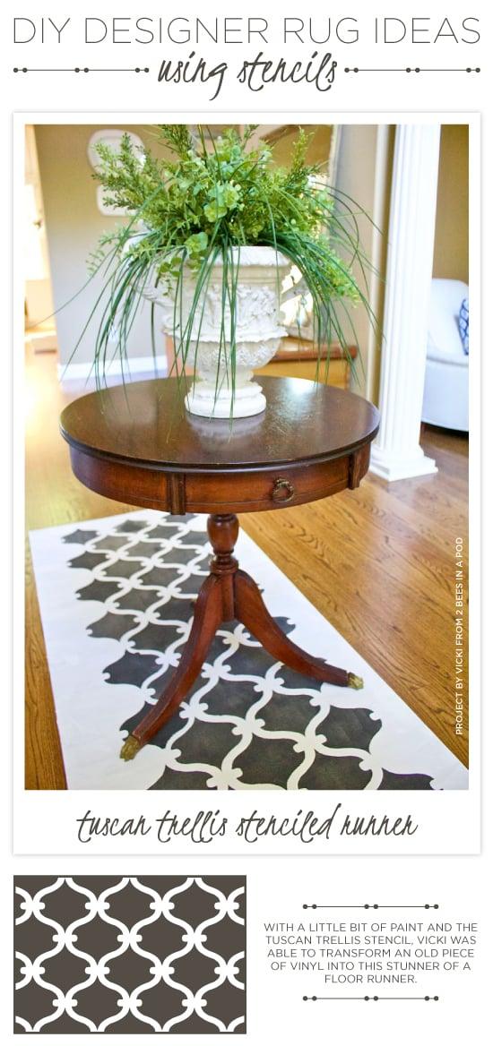 A DIY stenciled vinyl floor runner using the Tuscan Trellis Allover Stencil. http://www.cuttingedgestencils.com/tuscan-trellis-allover-stencil.html