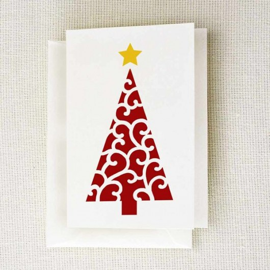 Stencil a DIY holiday note card using the Scroll Christmas Tree Stencil from Cutting Edge Stencils. http://www.cuttingedgestencils.com/scroll-christmas-tree-holiday-card-making-stencil-templates.html