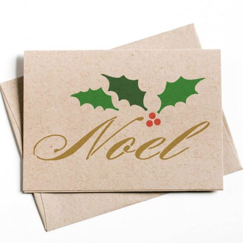 Stencil a DIY holiday note card using the Script Noel Stencil from Cutting Edge Stencils. http://www.cuttingedgestencils.com/noel-script-stencil-template-for-making-holiday-cards.html