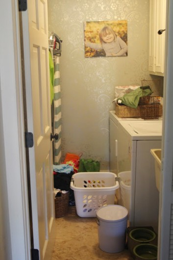 A before shot of a laundry room makeover. http://www.cuttingedgestencils.com/sari-paisley-allover-stencil.html