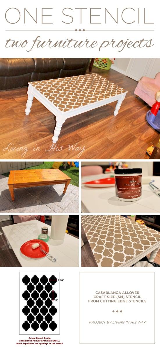 A DIY stenciled coffee table using the Casablanca Craft Stencil from Cutting Edge Stencils. http://www.cuttingedgestencils.com/craft-furniture-stencil.html