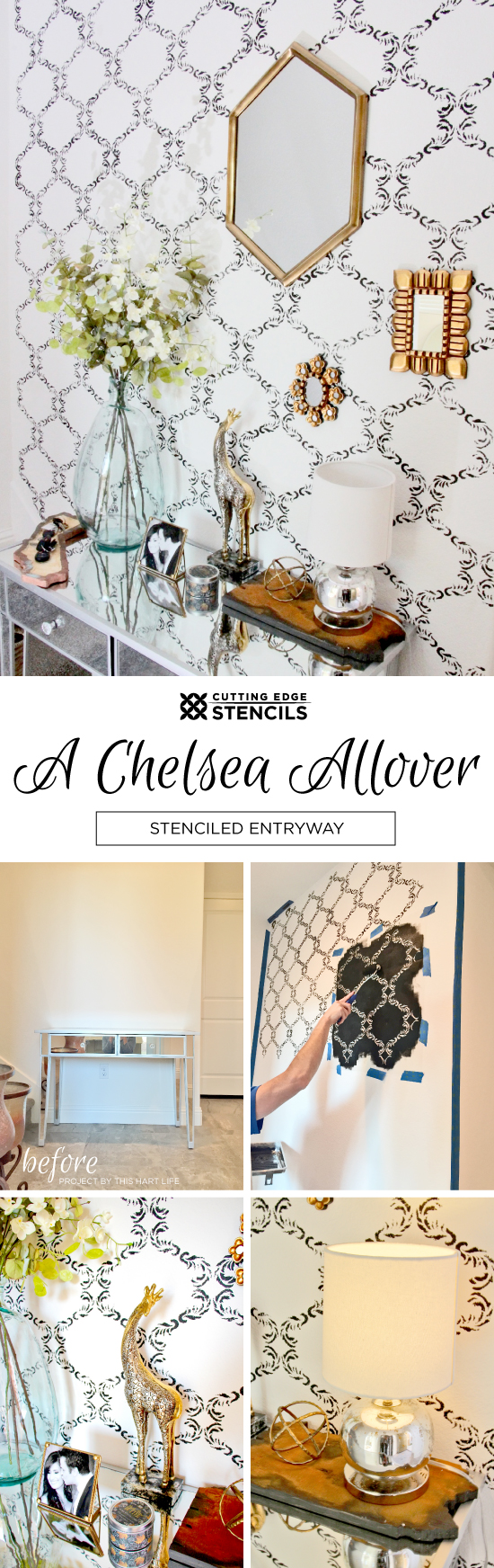 Cutting Edge Stencils shares DIY stenciled entryway using the Chelsea Allover Stencil. http://www.cuttingedgestencils.com/chelsea-allover-wall-pattern.html