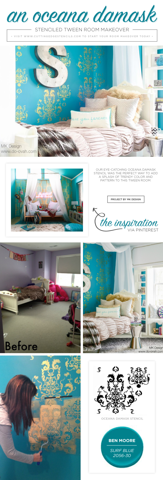 Cutting Edge Stencils shares a DIY stenciled tween bedroom using the Oceana Damask Stencil in teal and metallic gold.  http://www.cuttingedgestencils.com/stencil-nautical-decor.html