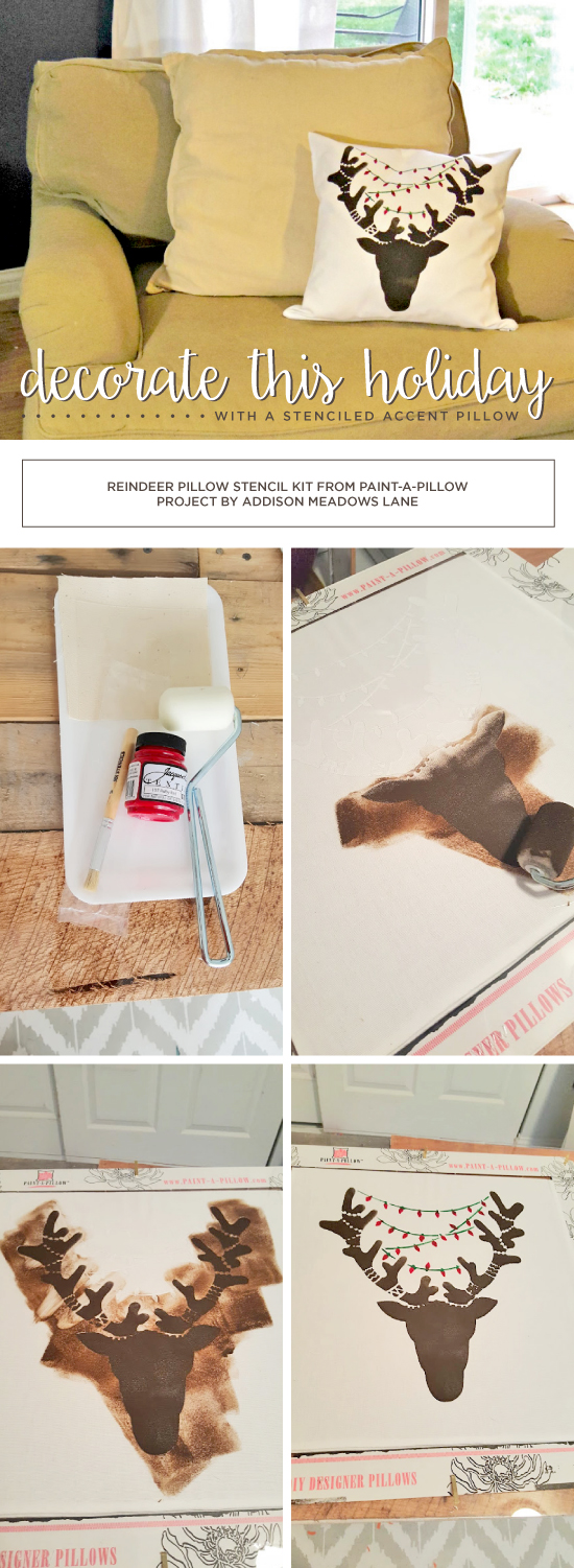 Cutting Edge Stencils shares a stencil tutorial on how to create DIY Holiday accent pillow using the Reindeer Paint-A-Pillow kit. http://www.cuttingedgestencils.com/reindeer-diy-accent-pillows-holiday-home-decor.html