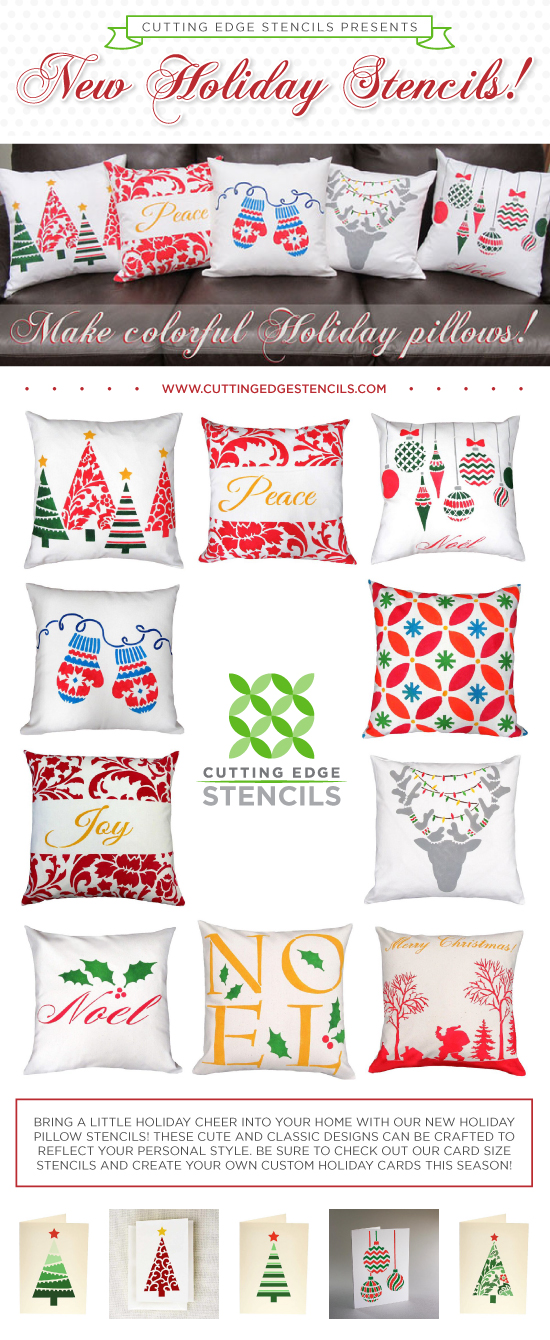 Cutting Edge Stencils presents a new Holiday Stencil Collection for crafts, cards, pillows, and totes! http://www.cuttingedgestencils.com/christmas-stencils-valentine-halloween.html