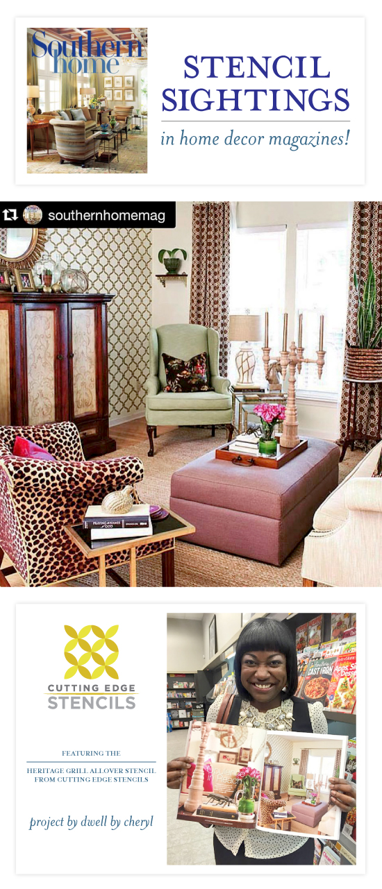 A DIY stenciled living room accent wall using the Heritage Grill Stencil spotted in Southern Home Magazine. http://www.cuttingedgestencils.com/heritage-grill-allover-stencil.html