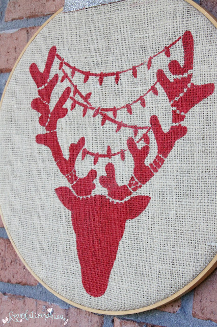 Stenciling DIY Christmas Decor using the Reindeer Craft Stencil from Cutting Edge Stencils. http://www.cuttingedgestencils.com/reindeer-holiday-stencil-designs-for-diy-crafts.html